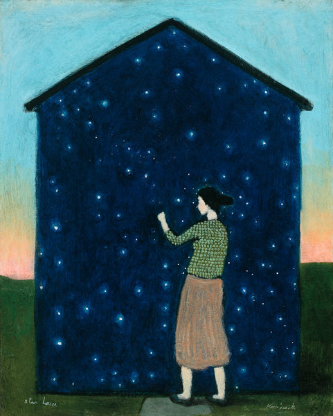 A dark haired woman in a green patterned top and brownish skirt knocks on a house covered with a deep blue sky and stars on green grass.