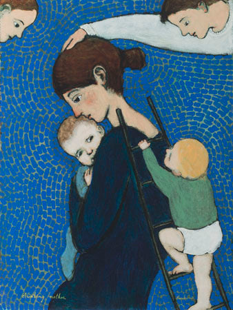 Poster of an original oil painting Climbing Mother by contemporary figurative artist Brian Kershisnik. A mother in a black dress holds her baby tight while another climbs a ladder leaned against her back against a blue and green tiled backdrop with angel in each top corner.