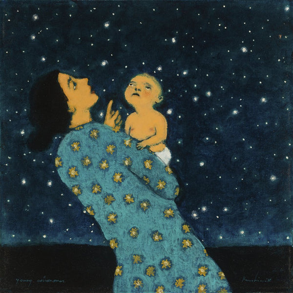 Young Astronomer poster by contemporary artist Brian Kershisnik. A young mother in a turquoise dress with stars on it holds her baby and both gaze up into the heavens on a dark night.