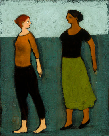 Two women walking forward against a background of light and dark turquoise. One with dark red hair, black trousers and rust shirt. The other with darker skin, dark hair, black shirt and green skirt.