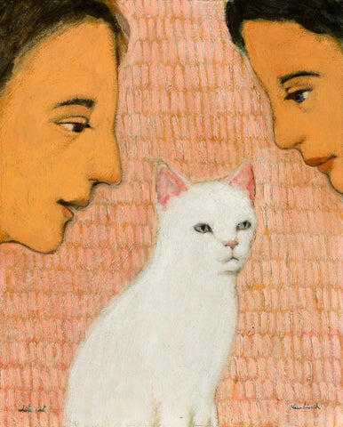 Two individuals with dark hair look at a white cat with a pink orange background.