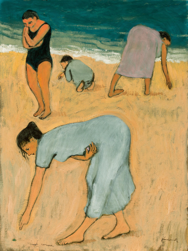 Three women and a child looking for treasures on the sea shore
