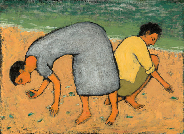 One woman with a blue dress and one with a yellow shirt and green skirt picking up glass on the beach.