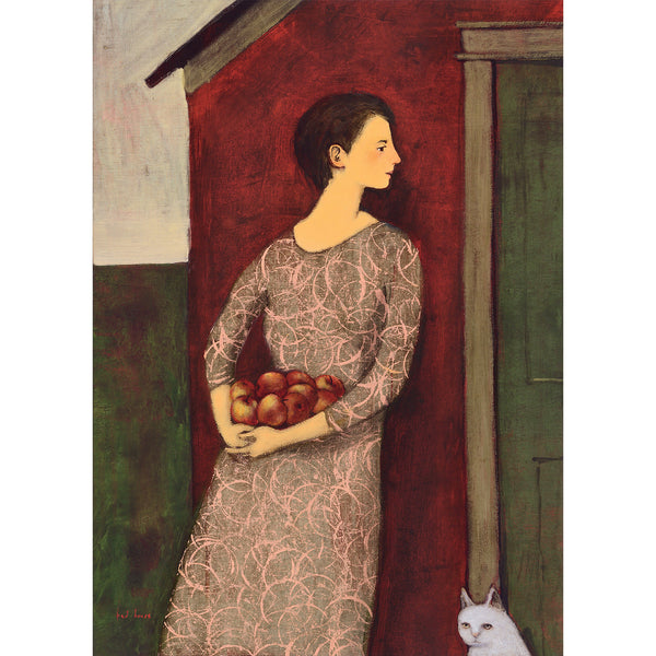 A woman with a beautiful pink and green-gray dress holding apples and leaning against a red house with green door and a white cat in the corner of the painting.