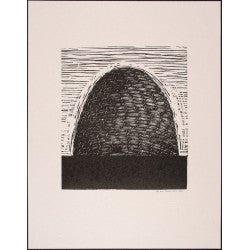 Relief print Beehive by contemporary artist Brian Kershisnik. Old fashioned woven beehive.