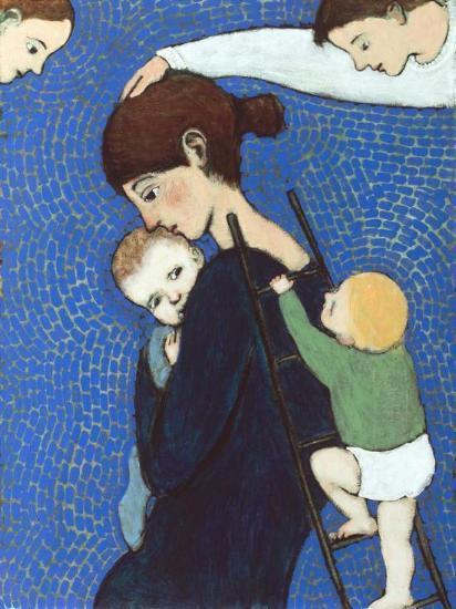 Giclee print of an original oil painting Climbing Mother by contemporary figurative artist Brian Kershisnik. A mother holds her baby tight while another climbs a ladder leaned against her back against a blue and green tiled backdrop with angel in each top corner.