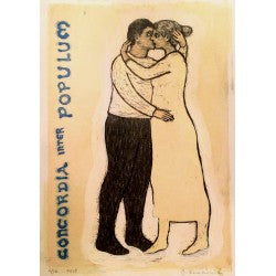 Original woodcut print with hand colored detail Concordia Inter Populum by contemporary figurative artist Brian Kershisnik. Lovers embrace and kiss against a hand colored light background with the title painted in blue on the side.