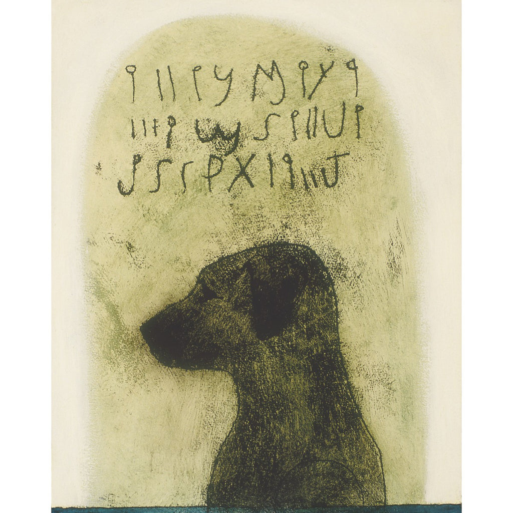 Giclee pigment print of an original oil painting Dog Code by contemporary figurative artist Brian Kershisnik. Black lab silhouetted against a green background with dog language written above.