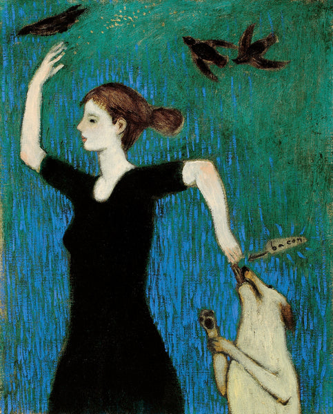 Giclee print of an original oil painting Food Dance by contemporary figurative artist Brian Kershisnik. A woman throws bird seed into the air for the three black birds and holds out bacon to the light yellow dog against a blue and green background.