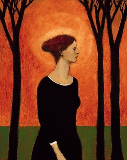 Giclee pigment print of an original oil painting Holy Woman by contemporary figurative artist Brian Kershisnik. A woman in a black dress with red hear stands against black barren trees silhouetted agains an orang sky. She stands on green grass and light radiates around her head.