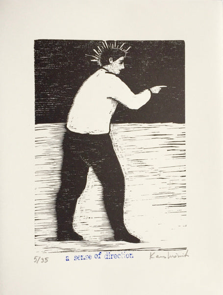 Limited edition signed woodcut print A Sense of Direction by contemporary artist Brian Kershisnik. A man in a white shirt and black pants points the direction he is going. He has a spiked halo against a black sky and white ground with black lines.