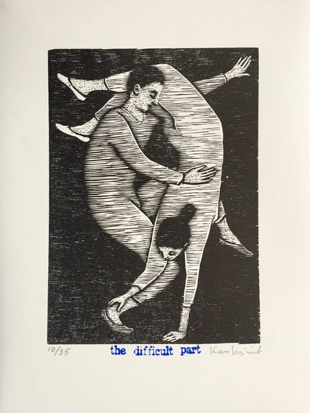 Limited edition signed woodcut print The Difficult Part by contemporary figurative artist Brian Kershisnik.