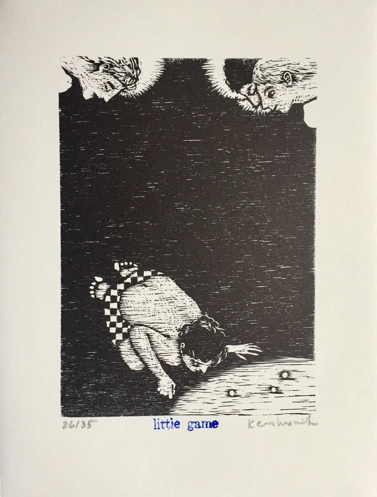 Signed and numbered limited edition woodcut Little Game by contemporary artist Brian Kershisnik. A young boy with black and white checkered short and without a shirt bent over playing a game of marbles with angels looking on in the corners.