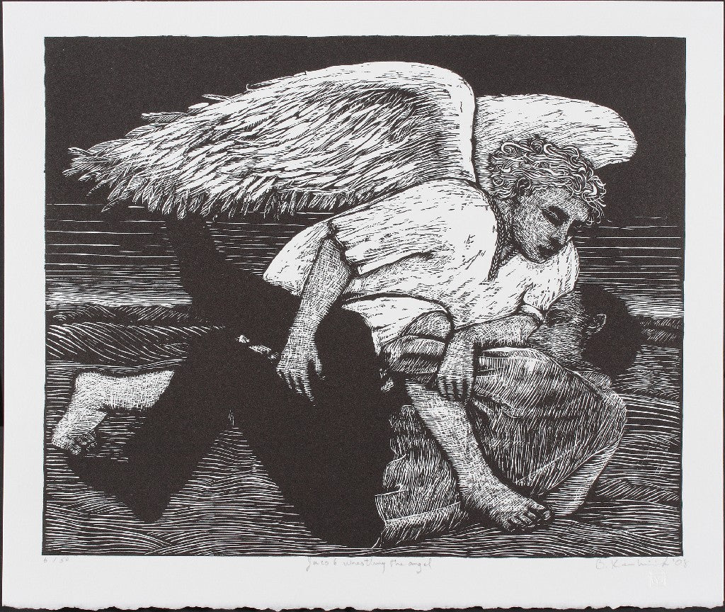 Signed Limited edition relief print Jacob Wrestling the Angel by contemporary artist Brian Kershisnik.The angel has Jacob in a strong hold.
