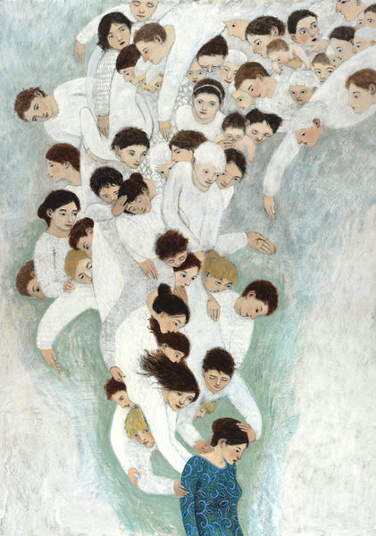 Open edition poster of an original oil painting She Will find What is Lost by contemporary figurative artist Brian Kershisnik. A dark haired woman in a turquoise and blue and green dress with a bowed head is attended by a swarm of angels of every age, sex, and size dressed in white