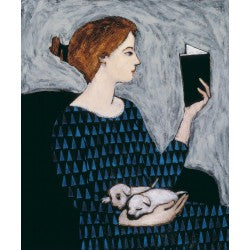 Giclee pigment print of an original oil painting She Reads by contemporary artist Brian Kershisnik. White puppies sit on the lap of a red haired women reading a book against a white/gray background. She is wearing a black and blue triangle patterned dress and sitting in a black chair.