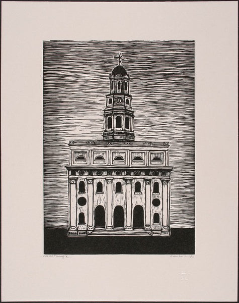 Nauvoo Temple relief print by contemporary figurative artist Brian Kershisnik.