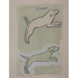 Mixed-media original drawing Two Dogs Study by contemporary artist Brian Kershisnik. Two dogs frolic hand colored light green.