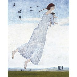 Giclee pigment print of an original oil painting Woman with Infant Flying by contemporary artist Brian Kershisnik. A young mother in a light blue gray dress holding her wee baby as they fly with the beautiful landscape and sky in the background.