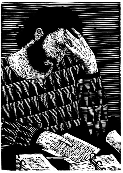 Black and White woodcut of a man with his hand on his forehead crying over pages.