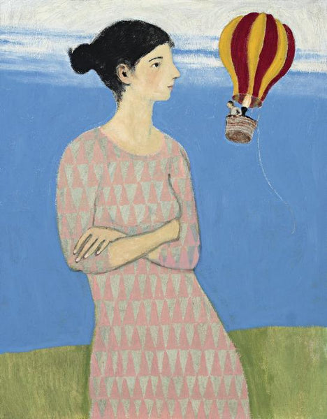 Giclee print of an original oil painting A Very Big Woman by contemporary artist Brian Kershisnik. A larger than life woman in a pink and grey triangle patterned dress with dark hair in a bun looks into a small orange and yellow hot air ballon with a tiny man.