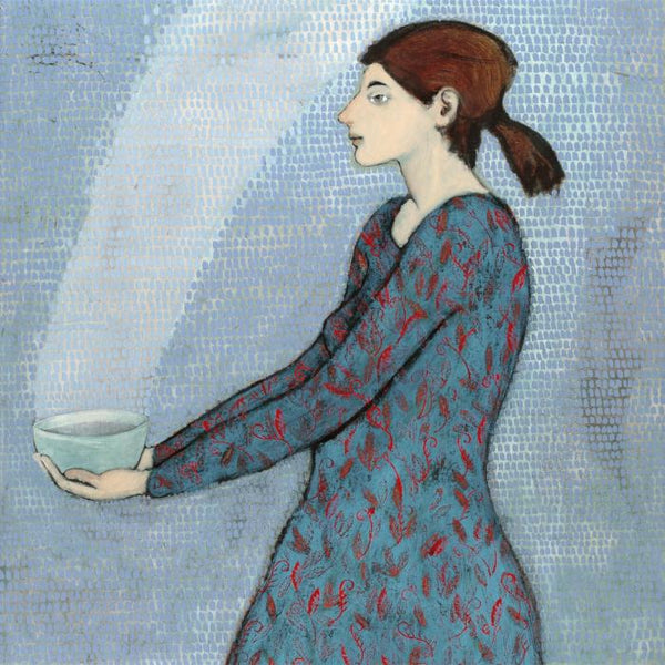 Giclee print of an original oil painting Bringing Food by contemporary artist Brian Kershisnik.A woman with auburn hair pulled back carries a turquoise bowl with steam coming out of it. She is wearing a dark turquoise blue dress with red vines and stands against lighter blue turquoise wall.