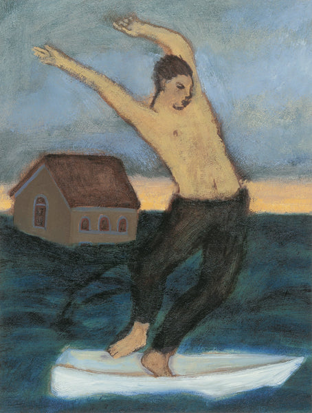 Giclee pigment print of an original oil painting Dances Through Disaster by contemporary artist Brian Kershisnik. A man dances in a white boat while the flood rises and one house floats away.