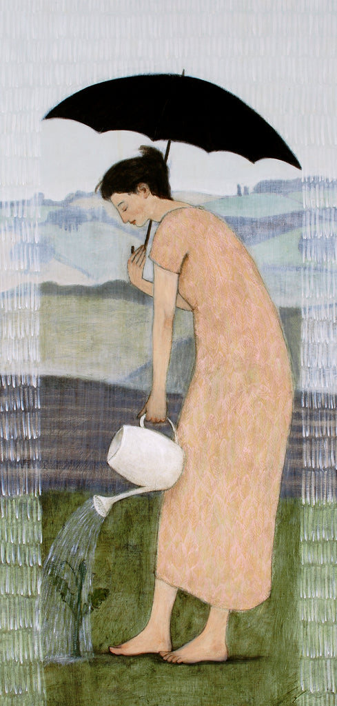 Giclee print of an original oil Gardening in the Rain by contemporary figurative artist Brian Kershisnik.A woman in a light orange dress stands under her black umbrella watering her plant while it rains. A landscape is the backdrop.