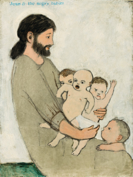 Brian Kershisnik paints Jesus and the Angry Babies. Jesus holds 3 unhappy babies on his lap with another toddler looking up.