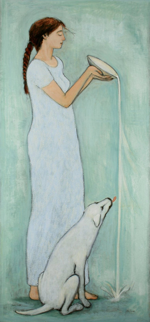 Giclee pigment print of an original oil painting Pouring Milk by contemporary artist Brian Kershisnik. The profile of a women in a long light blue dress standing and pouring milk with a white dog lapping it up as it pours.