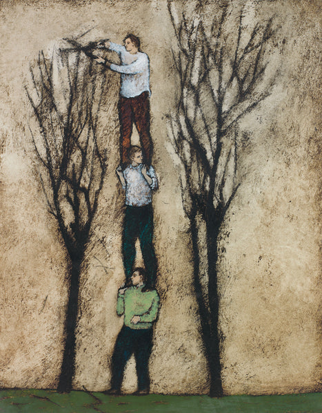 Giclee pigment print of an original oil painting Pruners by contemporary artist Brian Kershisnik. Three men one on top of each others shoulders with top one pruning a bare tree against a light brown background.