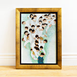 Open edition framed giclee of an original oil painting She Will find What is Lost by contemporary figurative artist Brian Kershisnik. A dark haired woman in a turquoise and blue and green dress with a bowed head is attended by a swarm of angels of every age, sex, and size dressed in white
