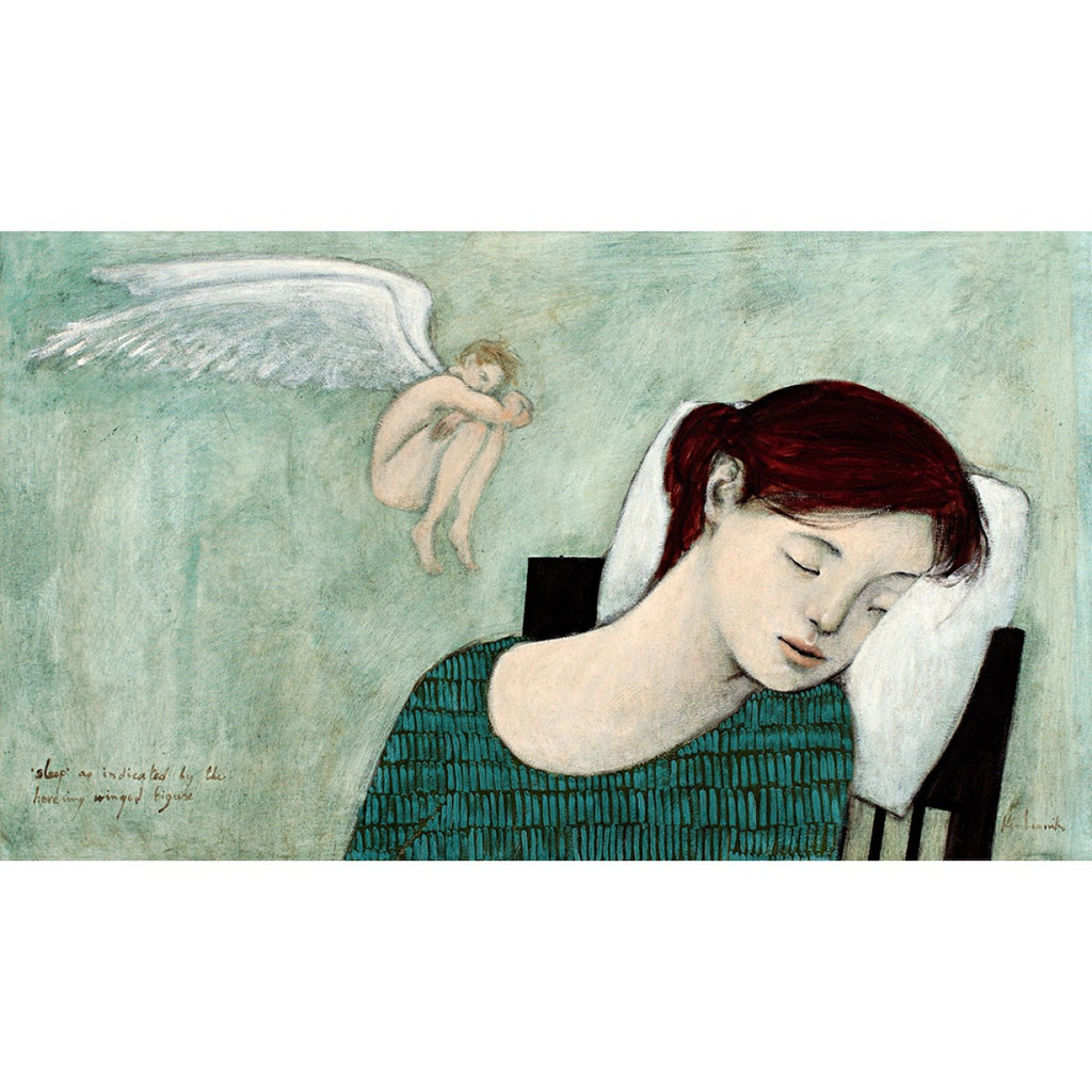 Giclee print of an original oil painting Sleep by contemporary artist Brian Kershisnik.A brunette young lady in a green and black triangle patterned dress sleeps with a pillow behind her head and a sleeping winged fairy hovers by her against a turquoise green background.