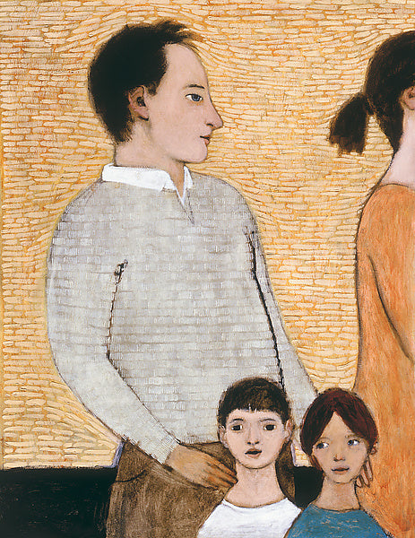 Giclee pigment print of an original oil painting Stay-at-Home-Dad by contemporary artist Brian Kershisnik. A husband in gray stays with two children and the mom in rusty orange dress is stepping out against an orange and white tiled background.