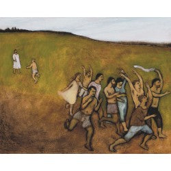 Giclee pigment print of an original oil painting Ten Lepers Healed by contemporary artist Brian Kershisnik.  Jesus heals ten lepers with one returning thanks on a green hillside.