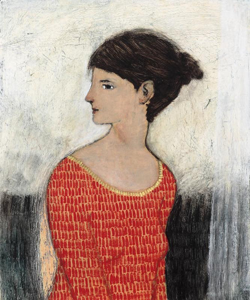 Thin Curtain by contemporary figurative artist Brian Kershisnik. A dark haired woman in an orange/red dress with a yellow trim against a white thin curtain and black wall.