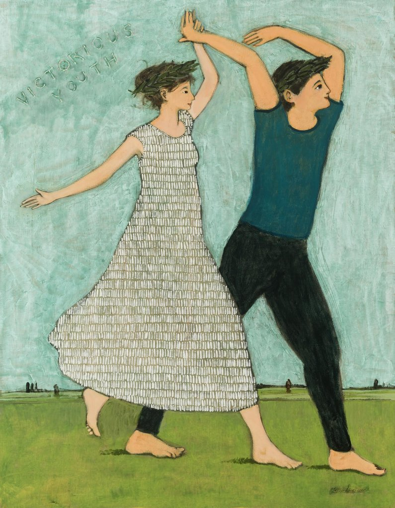 Victorious Youth poster by contemporary artist Brian Kershisnik.  A young woman and young man joyfully walk on spring green grass against a turquoise  sky. She is in a gray/white patterned dress and he in black pant and dark turquoise shirt.