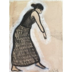 Untitled hand colored drawing of a woman by contemporary artist Brian Kershisnik.