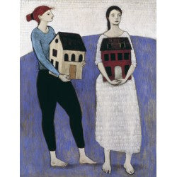 Giclee pigment print of an original oil painting Women Carrying Houses by contemporary artist Brian Kershisnik. Two women one wearing a white dress and the other wearing black pants and and blue top. Each holds a house while standing on a small purple blue hill.