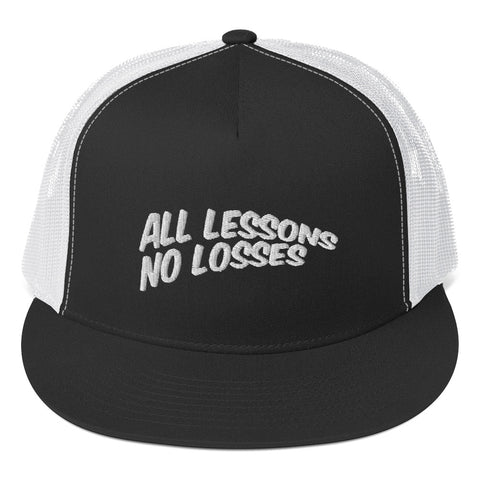 All Lessons No Losses Trucker Cap(white on black)