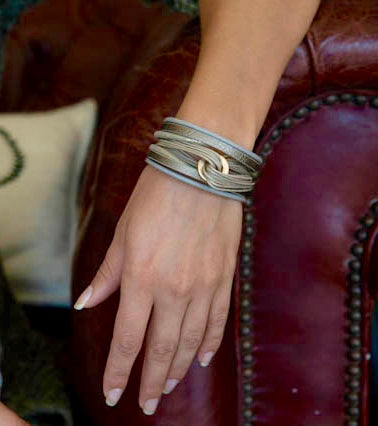 Entangled Leather Cuff Grey