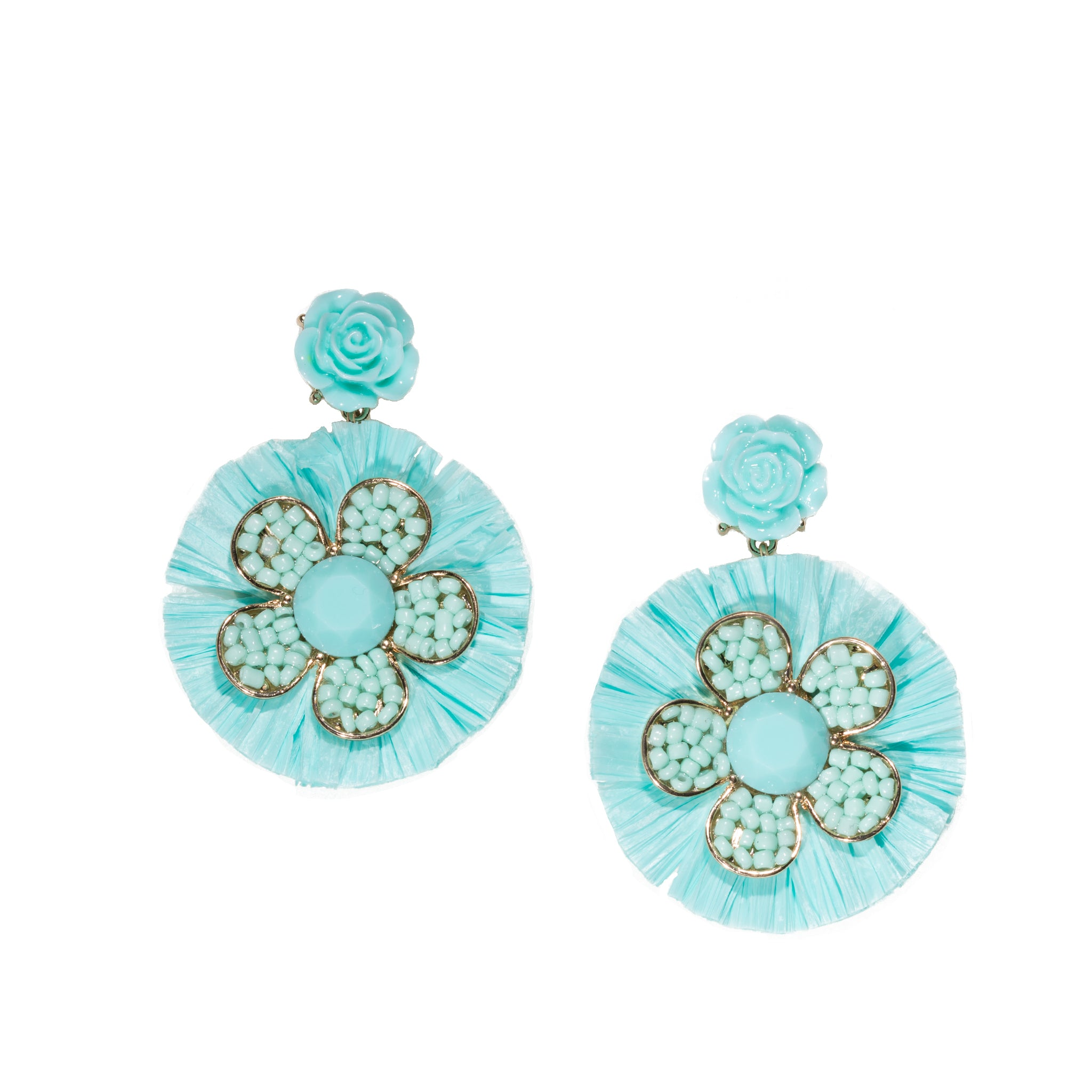 blue beaded flower chandelier earrings