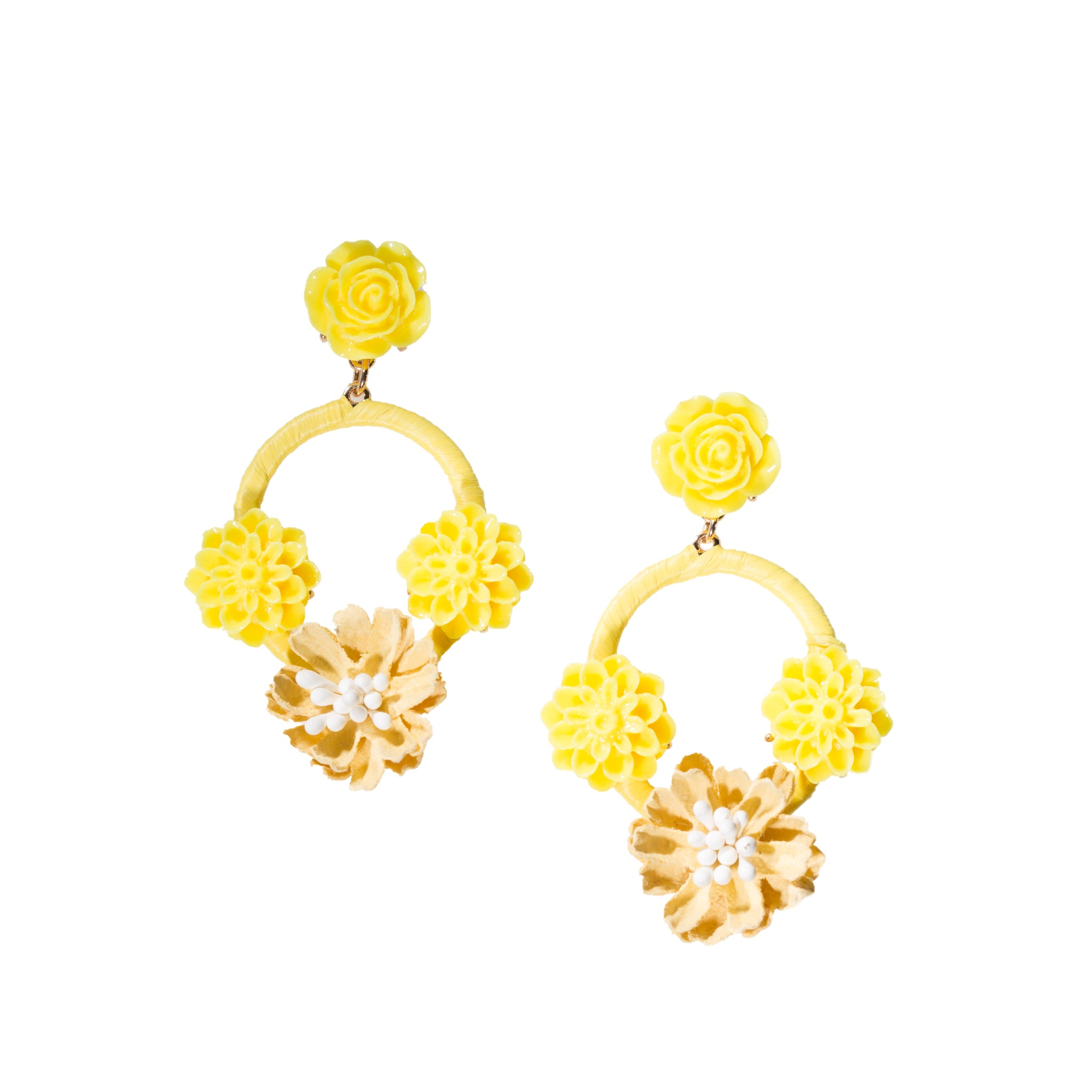 yellow floral chandelier earrings