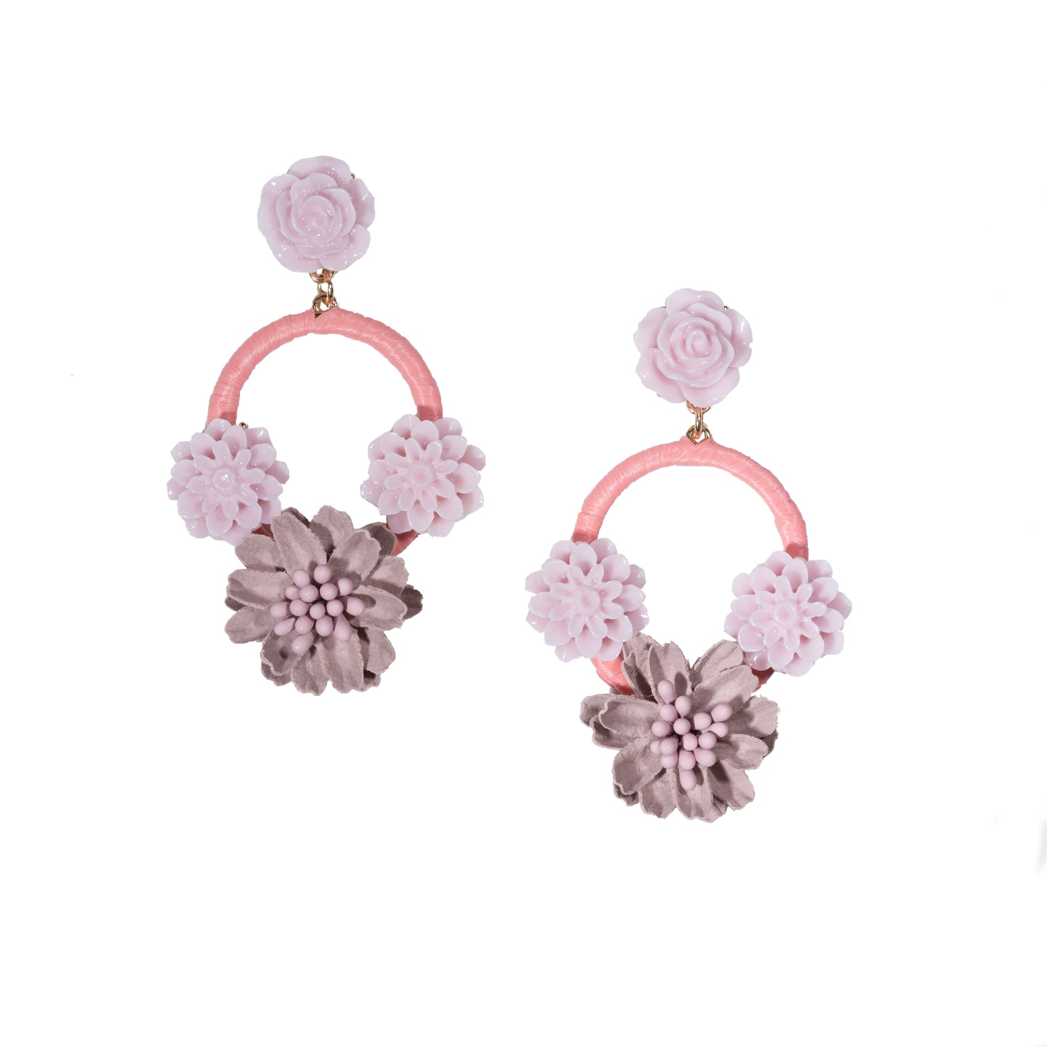 pink floral chandelier earrings