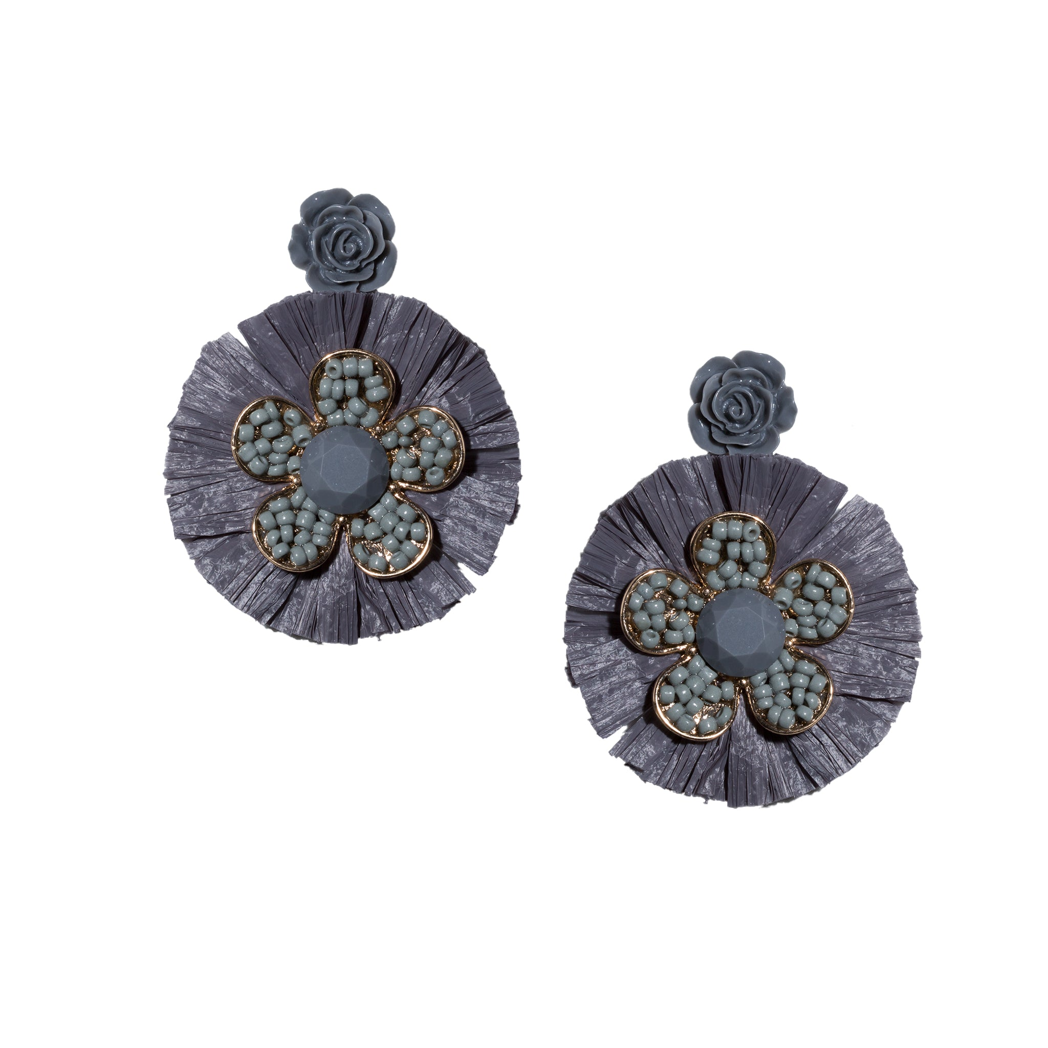 slate grey beaded flower chandelier earrings