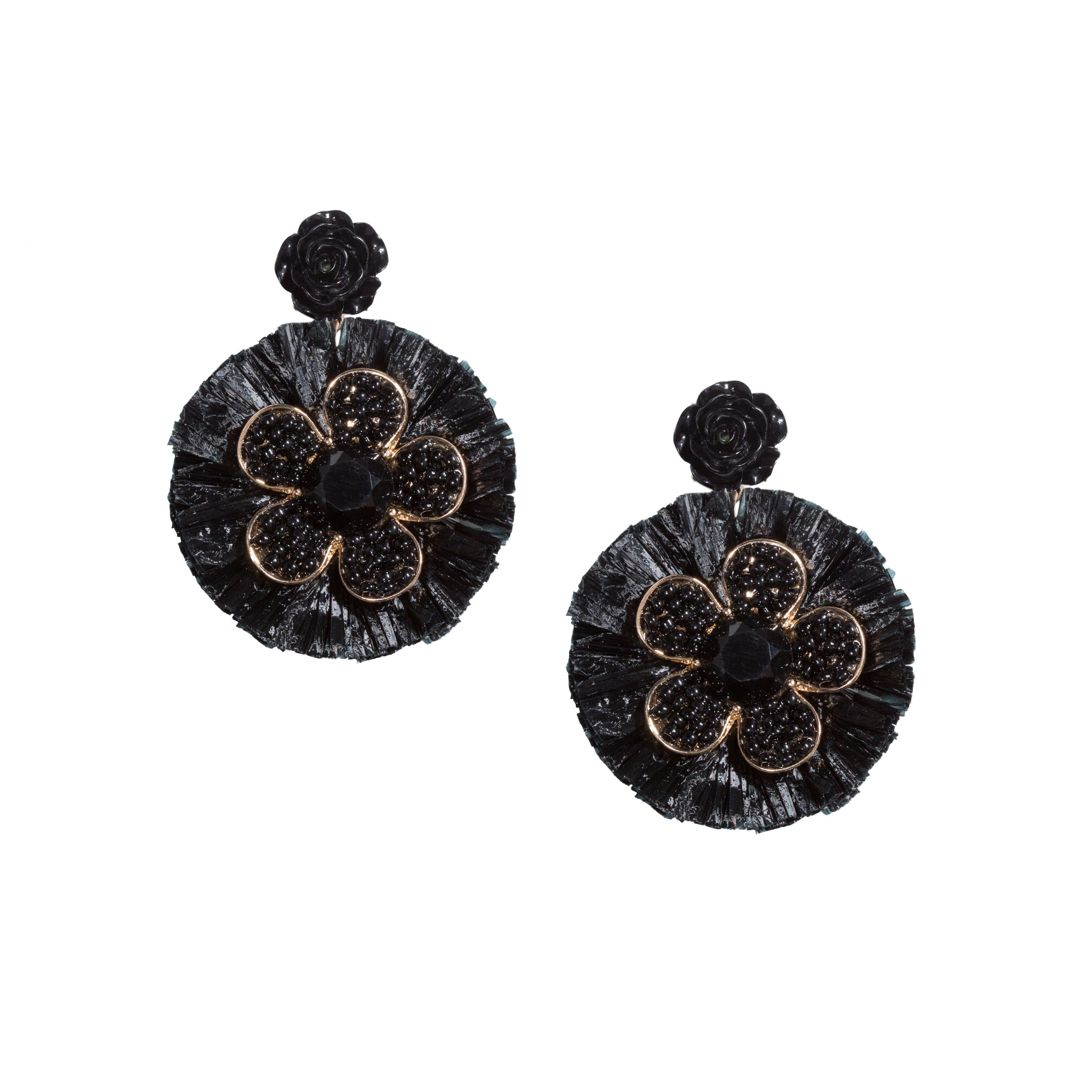 black beaded flower chandelier earrings