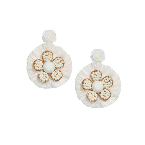 cream beaded flower chandelier earrings
