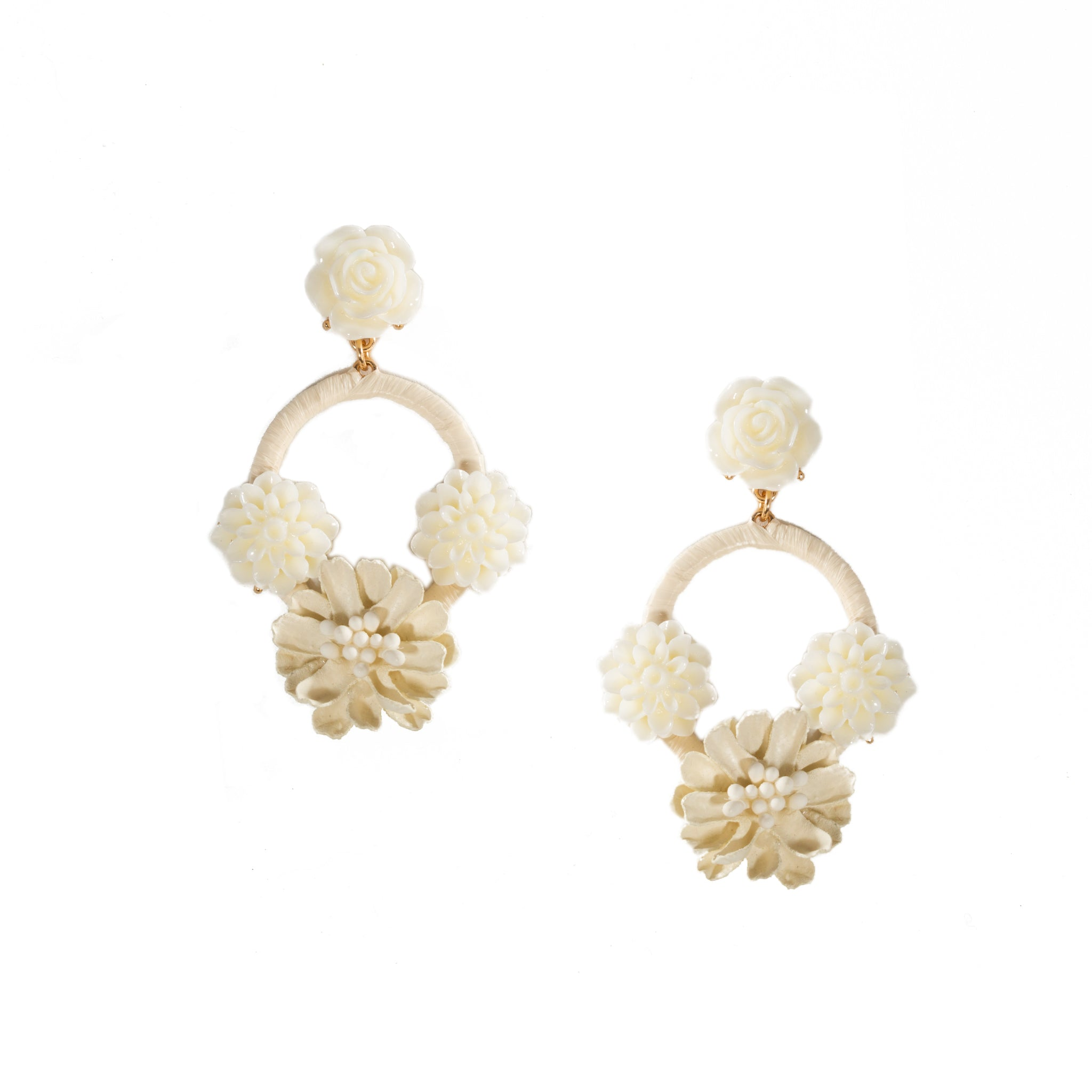 cream floral chandelier earrings