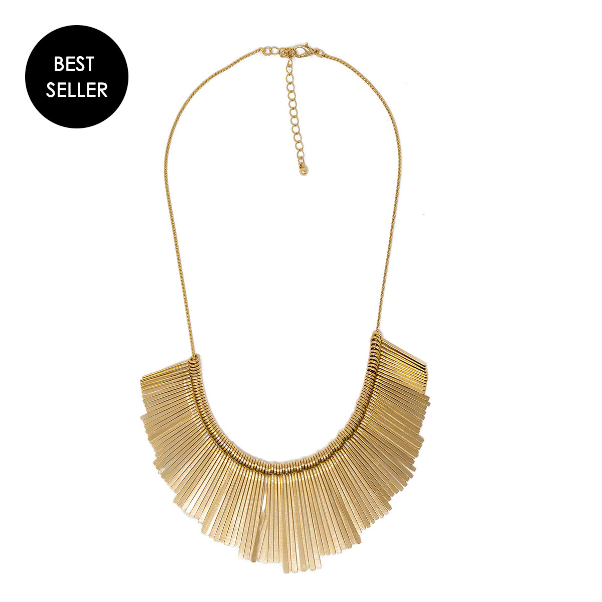 gold fanned bar necklace