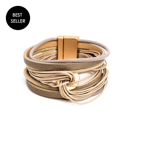 tan stacked leather bracelet cuff